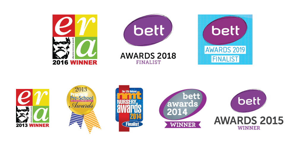 Logos of awards that 2 Eskimos have won including era, nmt, Pre-School and bett awards.
