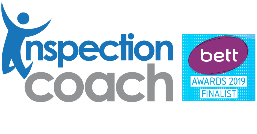 "Inspection Coach logo in blue and grey with a positive jumping figure forming the initial ""i"" of the word inspection. Positioned to the right of the logo is a 2019 bett awards finalist logo, with the word bett in a claret oval encased in light blue square."