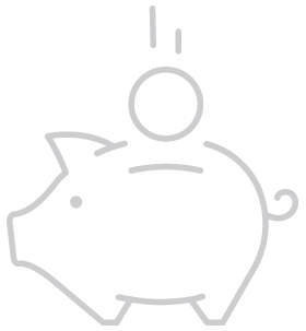 Outline illustration of piggy bank with coin dropping into slot.