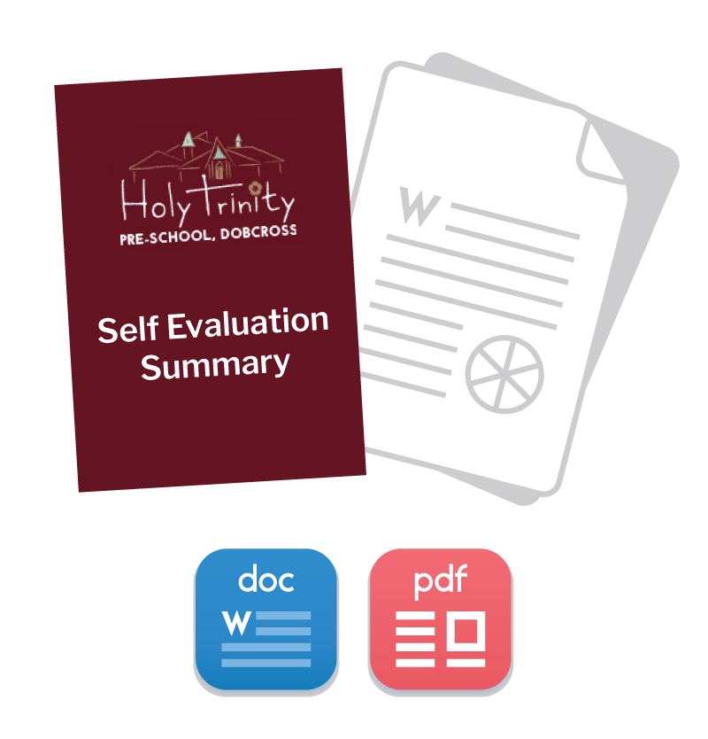 Illustration of a Self Evaluation Summary draft document with Word and PDF format icons below.